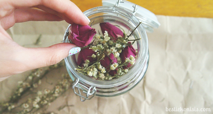 DIY dried roses in a jar