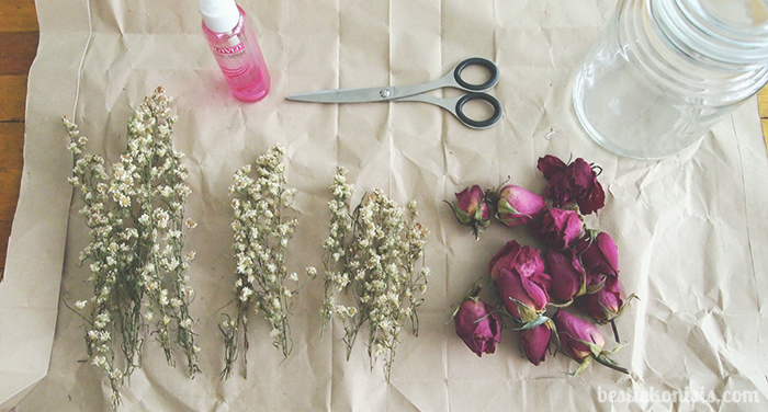 DIY dried roses in jar materials