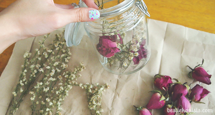 DIY dried roses in jar step 3