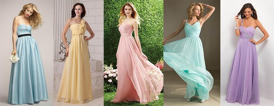 long pastel bridesmaid dresses gowns