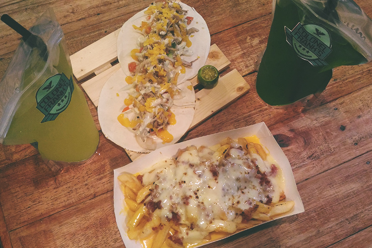 BoxPark Torched Fries, Beer-braised Carnitas, Colonel Franks juices