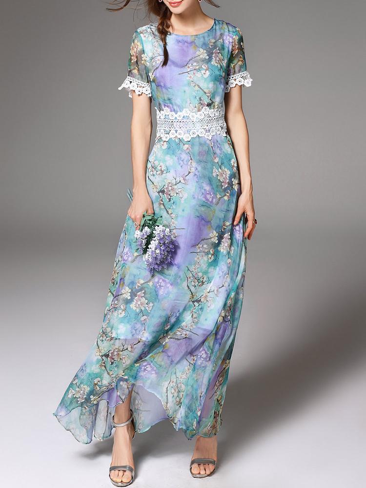 blue purple watercolor floral dress