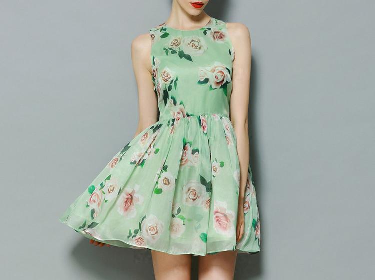 green mini floral dress