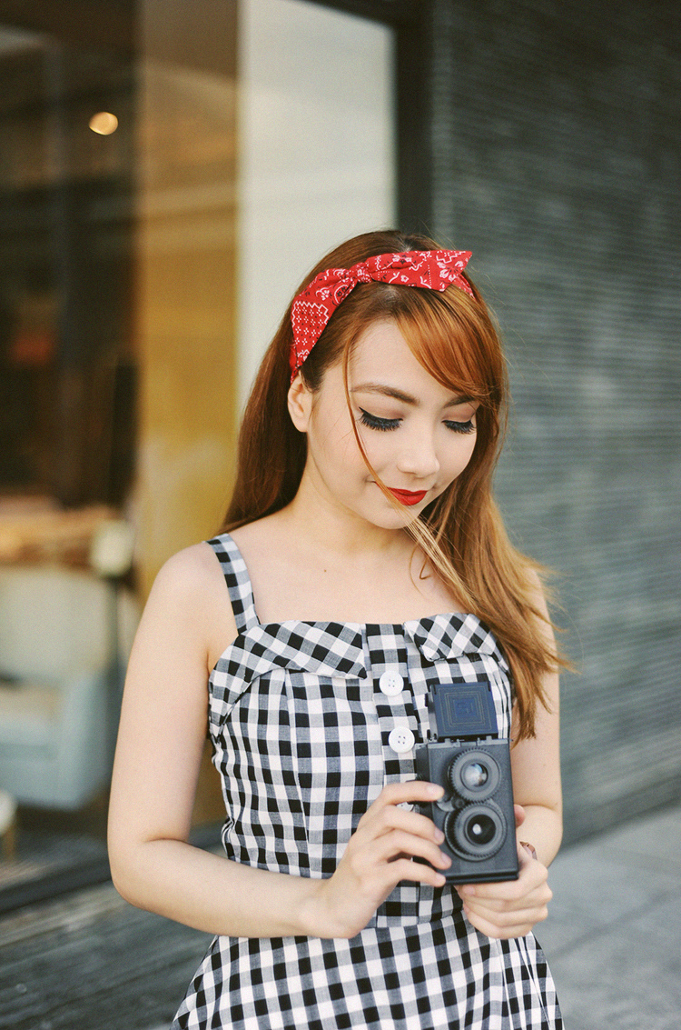 gingham and a red bandana