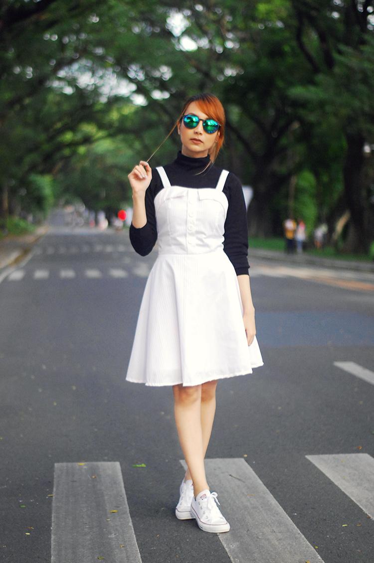 white jumper dress