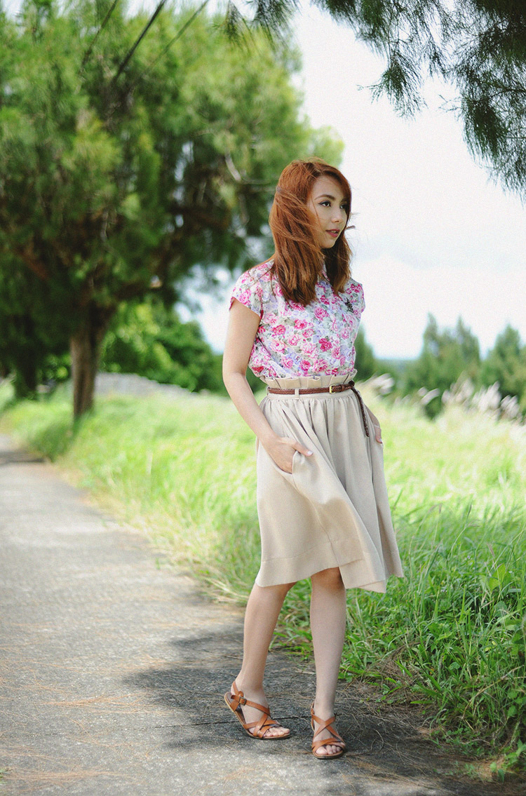 floral top, khaki skirt