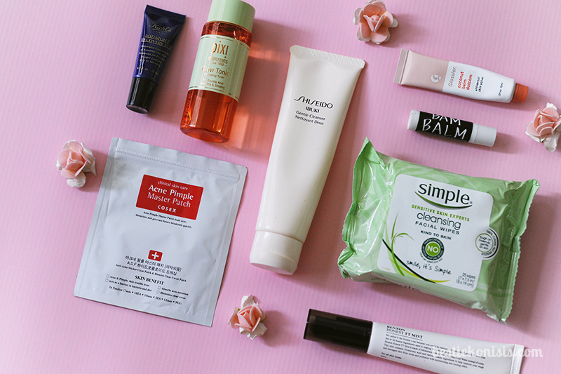 skincare products review - COSRX, benton, glossier, beach born, pixi, kiehl's, shiseido, simple