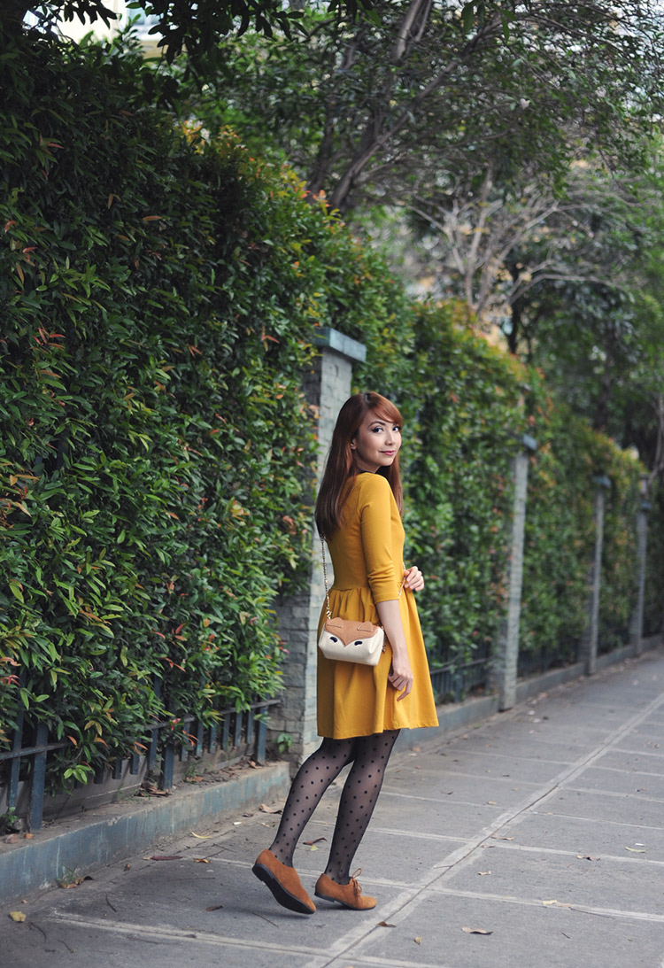 yellow mini dress and tights