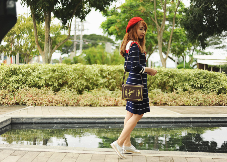 nautical dress with espadrille-sneakers