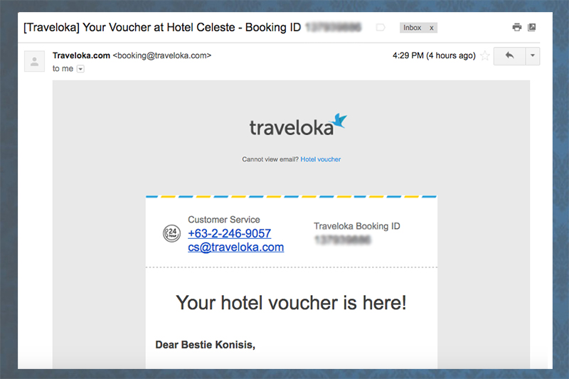 traveloka hotel booking confirmation