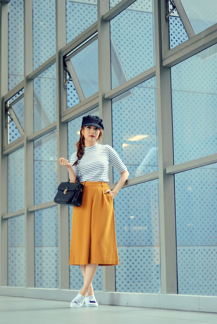 striped top, mustard pants