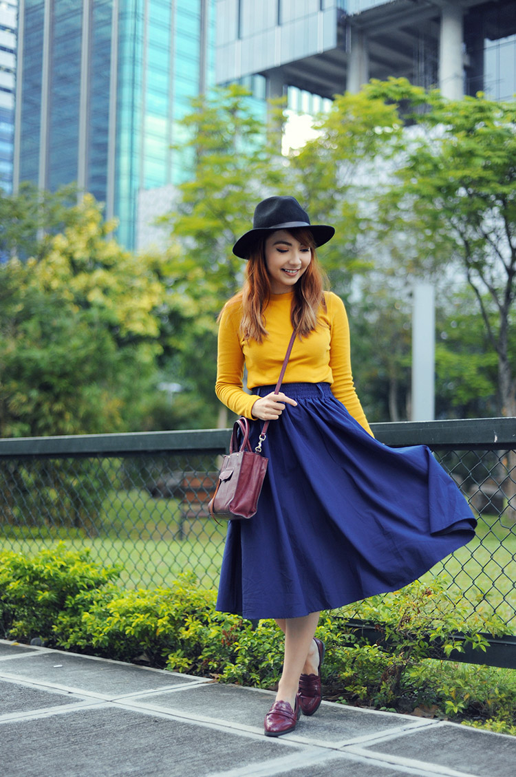 midi skirt and loafers
