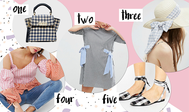 gingham dress, top, hat, shoes, bag - shop online