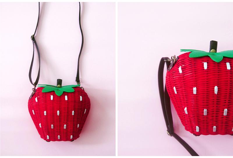 strawberry wicker basket bag